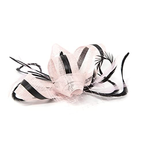 Blush pink fascinator with black accent ribbon and feathers on a clip mount. cfe3939b544