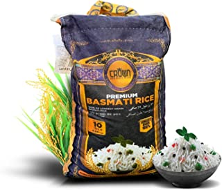 Crown Premium Quality White Basmati Rice � White 2 Years Aged Extra lengthy Basmati Rice � 100% Authentic Extra Long Grain White Basmati Rice From the Foothills of Himalayas 10 lbs.