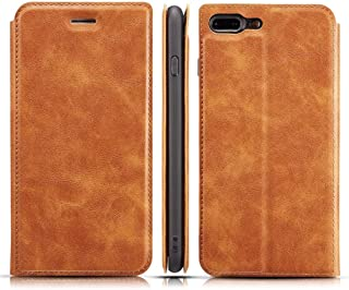 SHUANGRUIYUAN with Holder & Card Slots & Lanyard, Retro Elementary Ultra-Thin Magnetic Leather Case for iPhone 7 Plus / 8 Summation (Color : Brown)