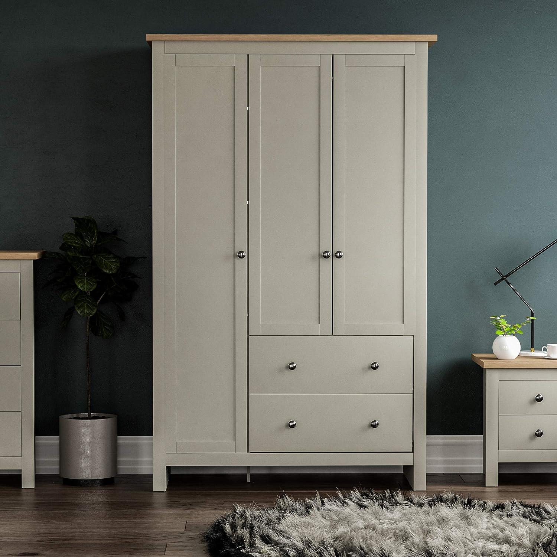 Vida Designs Arlington Wardrobe 3 Door 2 Drawer Bedroom Furniture Clothes Rail Storage Grey