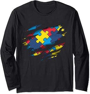 Autism Awareness Power Superhero Puzzle Piece Gift Long Sleeve T-Shirt