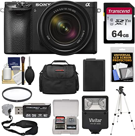 $1498 Get Sony Alpha A6500 4K Wi-Fi Digital Camera & 18-135mm Lens with 64GB Card + Battery & Charger + Flash + Tripod + Case + Kit