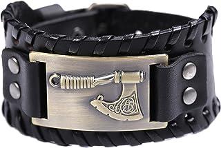 TEAMER Nordic Viking Axe Leather Bracelet Slavic Perun Axe Bracelet Jewelry for Men Women