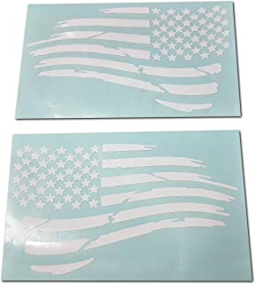 Az Auto Graphics Pair of Waving USA American Flag Decal Sticker Die-Cut Subdued Jeep Car Truck (4