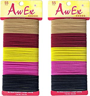 AwEx Colorful Hair Ties for THIN Hair,2 mm Regular Loop, 110 PCS,Mixed Colors,No Metal Hair Bands,No Pull Ponytail Holder for FINE Hair