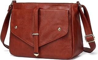 Women Cross Body Bag, Vaschy Soft Vegan Leather Shoulder Bag Fashion Ladies Handbag Multi-Pockets Purse