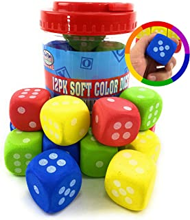 "Deluxe 1.5"" EVA Foam Dice Red, Green, Blue & Yellow (Pack of 12) Bucket"