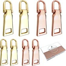 BEADNOVA Zipper Pull Replacement Metal Zipper Pull Repair Zipper Pull Tab for Luggage Suitcase Backpack Jacket Bags Coat Boots (Gold Color Assorted, Size 3and 5, 8 Piece)