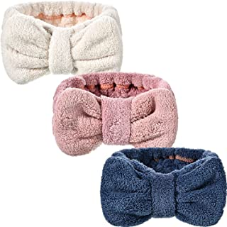 Hicarer 3 Pack Microfiber Bowtie Headbands Makeup Headbands Wash Spa Yoga Sports Shower Facial Adjustable Hair Band for Girls and Women (Color Set 1)