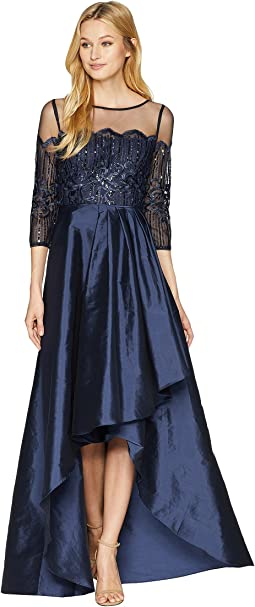 Long Sleeve Lace Illusion Bodice with Taffeta High-low Cascade Skirt