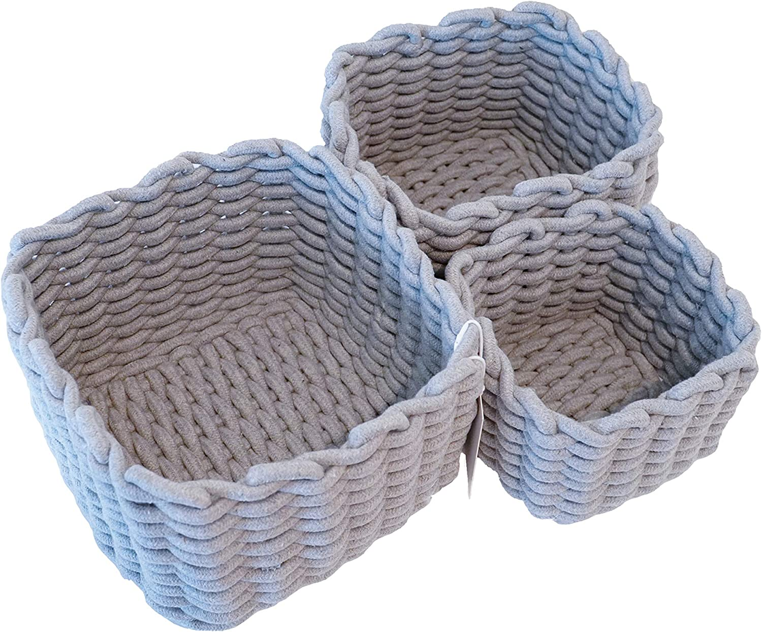 GOLDEN Philadelphia Mall CACTUS Set of 3 Cotton Sma Woven Storage for Baskets Fixed price sale Rope