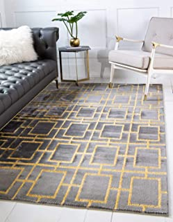 Unique Loom Marilyn Monroe Glam Collection Textured Geometric Trellis Gray Gold Area Rug (5' 0 x 8' 0)