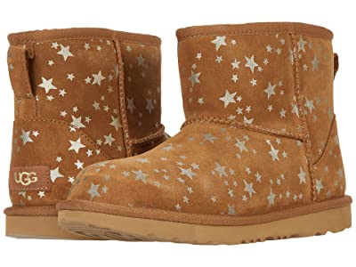 UGG Kids Classic Mini II Stars (Little Kid/Big Kid) (Chestnut) Girls Shoes