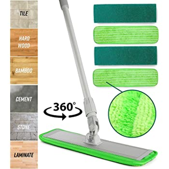 Microfiber Mop Floor Cleaning System - Washable Pads Perfect Cleaner for Hardwood, Laminate & Tile - 360 Dry Wet Reusable Dust Mops with Soft Refill Pads & Handle for Wood, Walls, Vinyl, Kitchen
