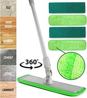 Microfiber Mop Floor Cleaning System – Washable Pads Perfect Cleaner for Hardwood,..