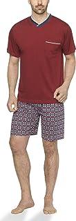 Herren Shorty Schlafanzug kurz Pyjama mit Karierter Hose aus 100% Baumwolle