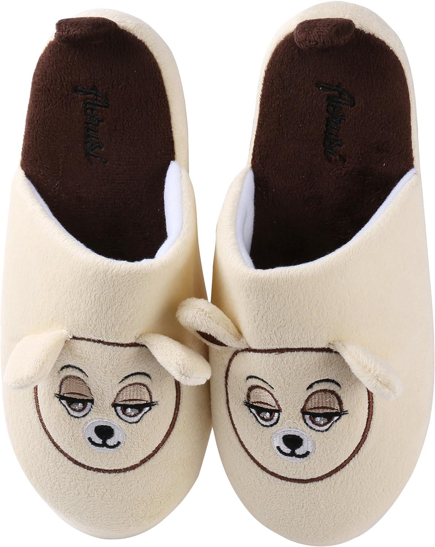 Aerusi SEC111039 Men or Women's Adult Teddy Bear Slippers, Beige, 7-8