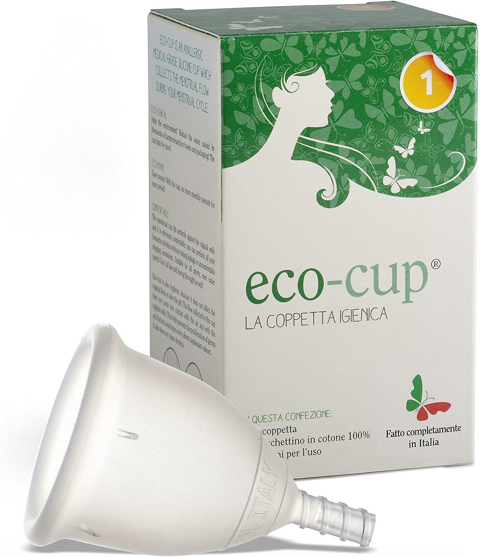 Eco-cup - Copa mental de silicona médica, fabricada en Italia, talla 2, transparente