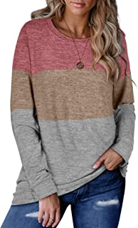 Sweaters for Women Long Sleeve Color Block Casual Round...