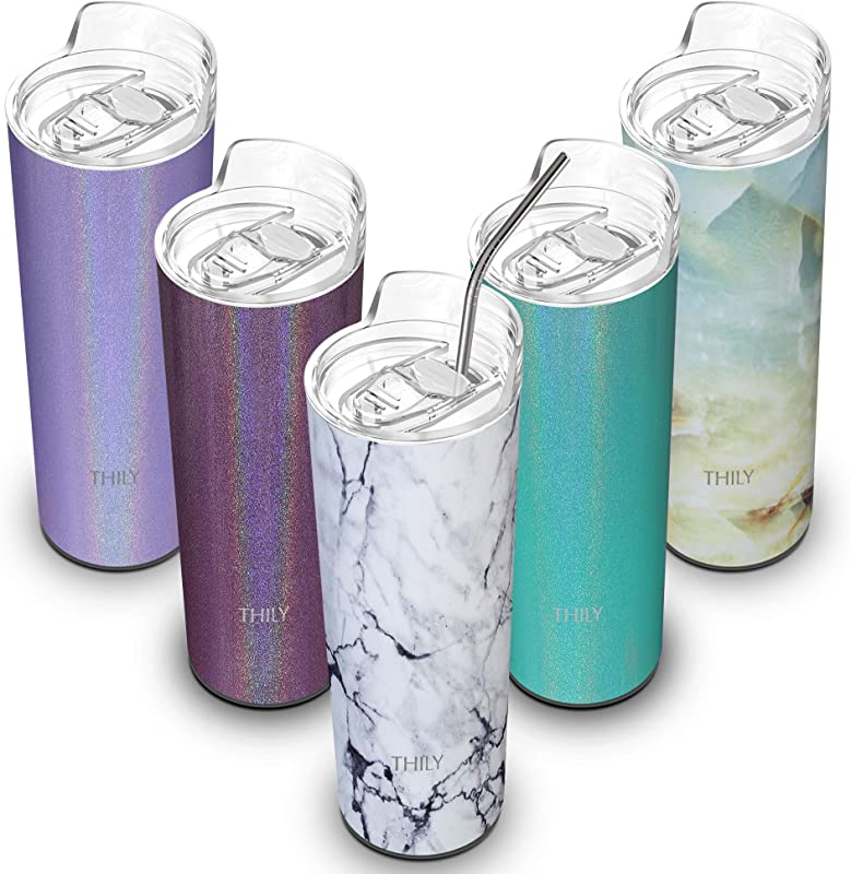 Stainless Steel Skinny Tumbler Insulated THILY 20 Oz Travel Slim Water Bottle Tall Cup With Lid And Straw Reusable Sweat Free Unbreakable Keep Coffee Juice Or Water Cold White Marble
