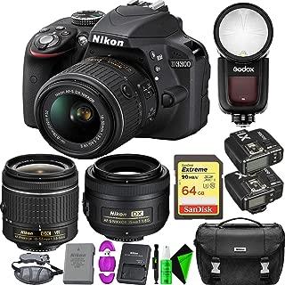 Nikon D3300 DSLR Camera with 18-55mm Lens (Black) + Nikon 35mm f/1.8 Lens + 64GB Memory Card + Round Head Speedlite V1-C + GODOX TTL Flash Trigger
