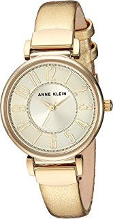 Anne Klein Women's Easy to Read -Tone Leather Strap Watch