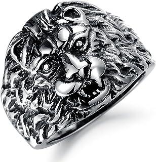 Paialco Men's Stainless Steel Lion Head Vintage Biker Ring Silver Black, Size: 8