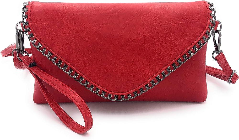 Eliox, pochette per donna, elegante,  con catena e tracolla, in morbida pelle sintetica sreoci, rossa