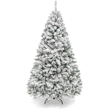 Amazon Com Best Choice Products 7 5ft Premium Snow Flocked Artificial Holiday Christmas Pine Tree For Home Office Party Decoration W 1 346 Branch Tips Metal Hinges Foldable Base Home Kitchen