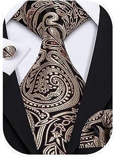 Men Ties Paisley Woven Silk Necktie Set with Pocket Suqare Cufflinks Formal