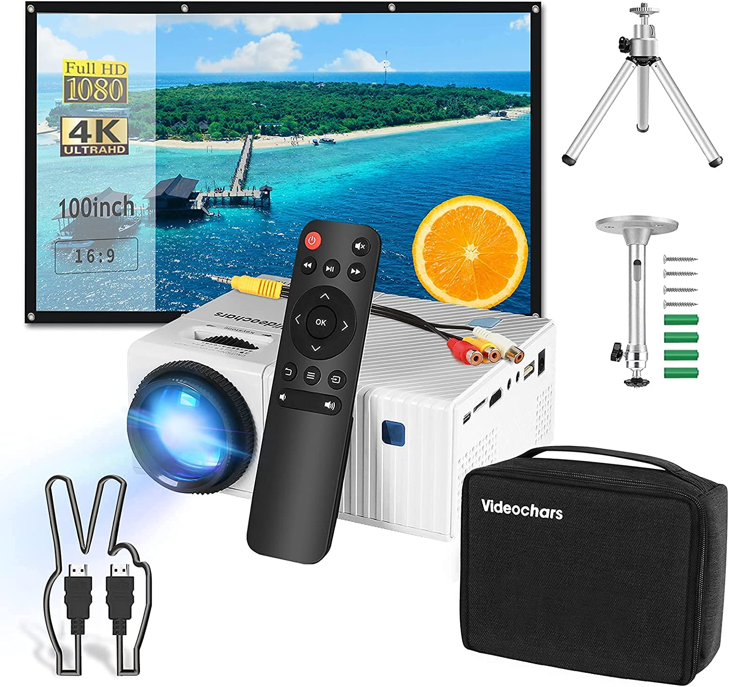 7 in 1 Home Theater Set,Compact Size Native 1080P Projector + 100inch Projector Screen + Tripod Stand + Ceiling Mount + HDMI Cable + Portable Bag + Remote Controller