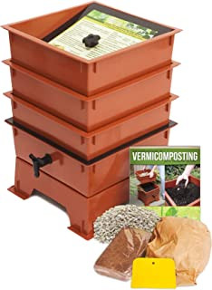 Nature's Footprint Standard 3 Tray Composting Worm Bin, Terracotta