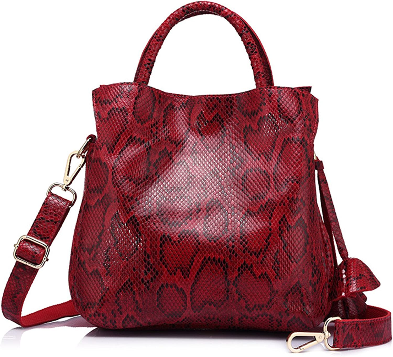 Leroyca Women Handbag Serpentine Print Genuine Leather Tote Shoulder Bag Fashion Large Capacity Crossbody Bags