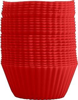 GOURMEO® 25 moules à muffins en rouge, réutilisables, silicone de haute qualité, respectueux de l'environnement, sans BPA...