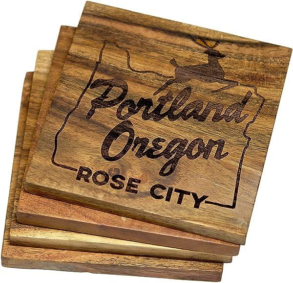 Engraved Portland Oregon Drink Coasters Set Of Four Portland Oregon Rose City Multiple Designs Engraved Acacia Wood Design Set Of Four