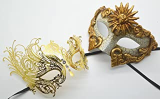 Roman Greek God and Sun Goddess Set - His & Hers Elegant Phantom Masquerade Masks [Antique Gold Themed] - New Year's Eve, Mardi Gras Theater