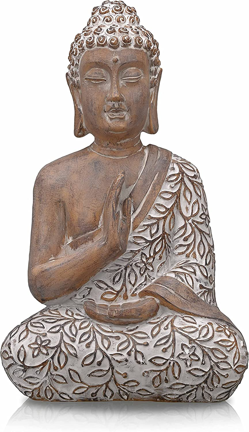TERESA'S COLLECTIONS Large Meditating Buddha Statue for Home Decor, Rustic Zen Decor Serene Resin Yoga Sculpture, Antique Collectible Figurine for Indoor Outdoor, 14.3