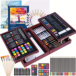 126 Piece Deluxe Art Creativity Set with 2 Drawing Pad, Art
