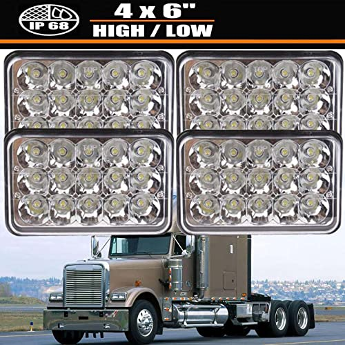 """2021 4X6"""" new arrival LED Headlights Sealed Beam 45W Crystal Clear Rectangular Headlamp H4 Plug H4651 H4652 H4656 H4666 H6545 Pack of 4 for 1989-2003 Kenworth T800 Truck, 2 sale Year Warranty outlet online sale"""