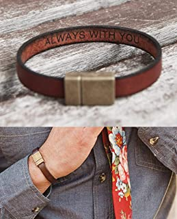 Hidden Secret Message Leather Bracelet Personalized with Custom Quote Date or Coordinates with Strong Hypoallergenic Magnetic Clasp