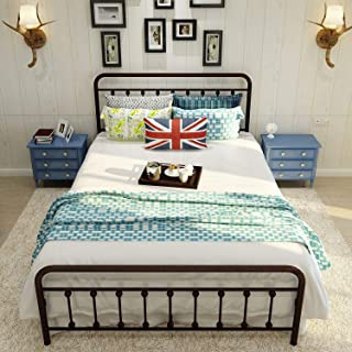 Sanest Metal Bed Frame Queen Size, Two Headboards 9 Legs Mattress Brown Platform Now Simple European Double Bed Frame Box Spring Replacement for Change Bedroom Furnituree