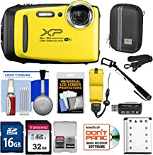 Fujifilm FinePix XP130 Shock & Waterproof Wi-Fi Digital Camera (Yellow) with 32GB Card + Battery + Cases + Float Strap + Selfie Stick + Kit