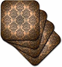 3dRose Royal Copper Single Damask Metal Effect Pattern - Soft Coasters, Set of 4 (CST_210786_1)