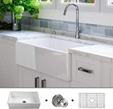 Luxury 33 inch Solid (NOT HOLLOW), Ultra-Fine Fireclay Modern Farmhouse Kitchen Sink in White, Single Bowl, Flat Front, includes Grid and Drain, FSW1002 by Fossil Blu