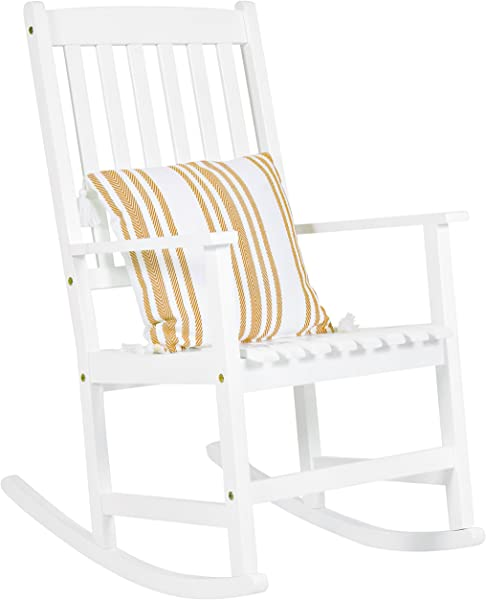 Best Choice Products Indoor Outdoor Traditional Wooden Rocking Chair Furniture W Slatted Seat And Backrest White