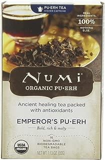 Numi Organic Tea Emperor's Pu-erh, Full Leaf Black Pu-erh Tea, 16-Count non-GMO Tea Bags (Pack of 2)