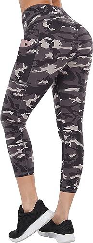 Fengbay High Waist Yoga Pants with Pockets, Capri Leggings for Women Tummy Control Running 4 Way Stretch Workout Legg...