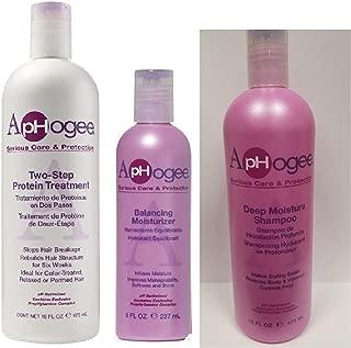 Aphogee Two-Step Protein Treatment 16oz, Balancing Moisturizer 8oz, Deep Moisture Shampoo Restructurizer 16oz