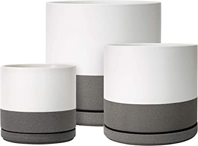Set of 3-6 inch & 8 inch & 10 inch Ceramic Planter Pot with Drainage Hole and Saucer, Indoor Cylinder Round Plants Pot, Matte White/Speckled Grey