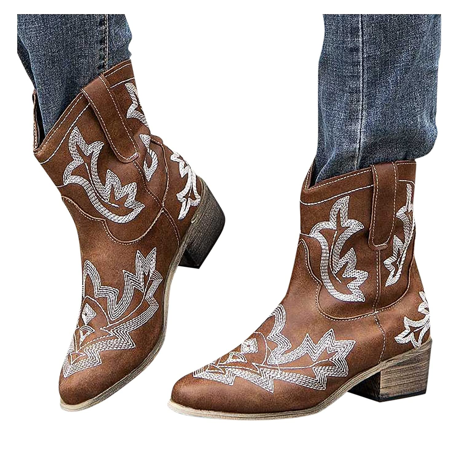 discount Reokoou Women's Max 86% OFF Western Bootie Retro Leather Slip On Embroidery